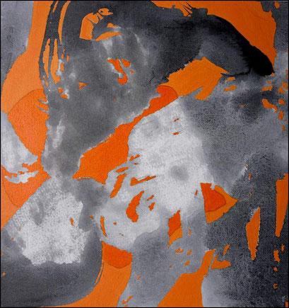 2. Exercices spirituels, encre de chine et acrylique sur toile, 40 x 40 cm.