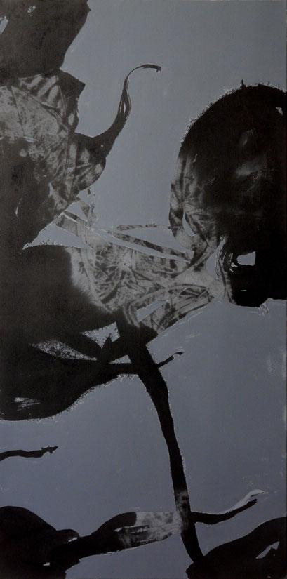 4. Exercices spirituels, encre de chine et acrylique sur toile, 120 x 60 cm.