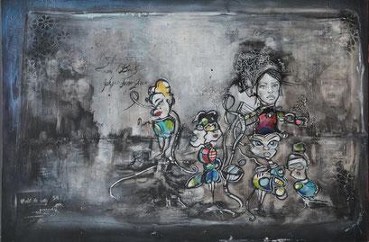 Acrylic/oil on canvas,  105 x 70 cm/2,5cm