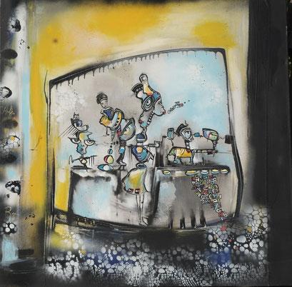 Acrylic/Oil on canvas,  80x80cm/4cm
