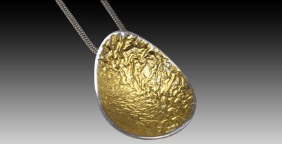 Silver Reticulated Egg with Gold Leaf