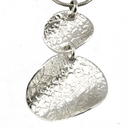 Leaf Etched Pendant - Silver