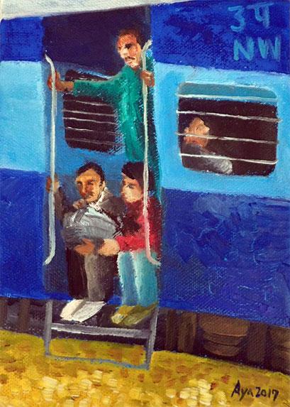 列車: 210×150mm Canvas Oil 2017