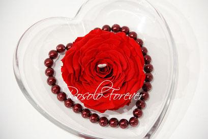 ROSOLO FOREVER: Grande rose éternelle, rouge XL, dans une coupe en verre