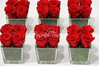 ROSOLO FOREVER: 1, 2 3,ou 4 roses éternelle(s) dans une coupe en verre