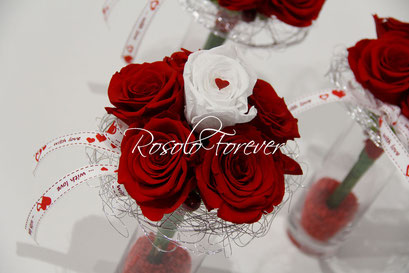 ROSOLO FOREVER: Bouquet de roses / blanc et rouge
