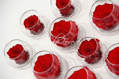 ROSOLO FOREVER: Belle rose dans un bocal / rouge bordeau