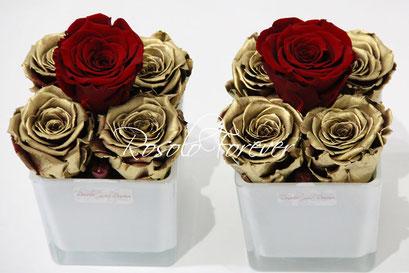 ROSOLO FOREVER: 4 Roses éternelles dans un pot carré / bordeau et or