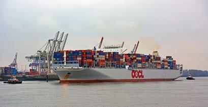 OOCL SINGAPORE läuft in den Hamburger Hafen ein.
