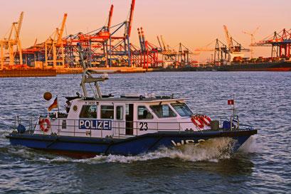 Wasserschutzpolizei WS23 sichert das Feuerwerk zur Taufe von Mein Schiff 3 am 12.06.2014 ab