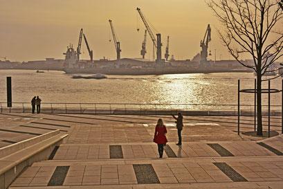 Blick über die Elbe an der Elbphilarmonie im morgendlichen Dunst