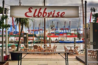 Elbbrise am Museumshafen Övelgönnemit Blick auf das TERMINAL BURCHARDKAI