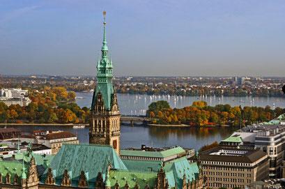 Hamburg von oben/Blick auf die Alster