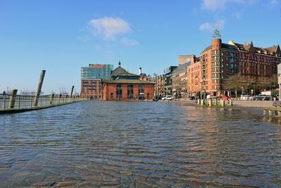 Leichte Sturmflut am Fischmarkt am 17.02.2020