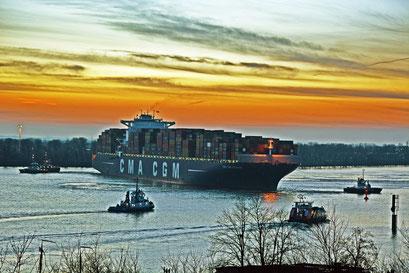 Containerschiff PEGASUS läuft zum Sonnenuntergang im Hamburger Hafen ein
