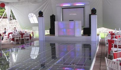 Karaoke Luz y Sonido Montaje con esfera de los 80's