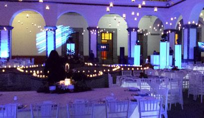 Montaje en ex Convento de Regina  en azul y morado