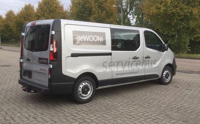 De servicebus van geWOON!, bus reclame