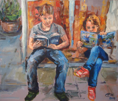Young Readers, Öl_Lwd.60x70cm