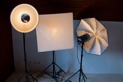 Als Kunstlicht stehen drei Elinchromleuchten mit verschiedenen Schirmen, Softbox und Beautydish bereit.