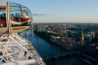 Blick aus dem London Eye auf das House of Parliament mit Big Ben