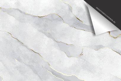 Beton Marmer Gold Inductie Beschermer