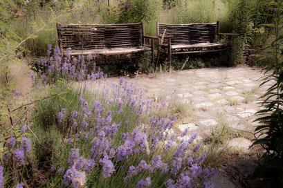 Lavande et bancs en chataignier, Jardin de l'Île verte, Châtenay Malabry, (92 Hauts-de-Seine)