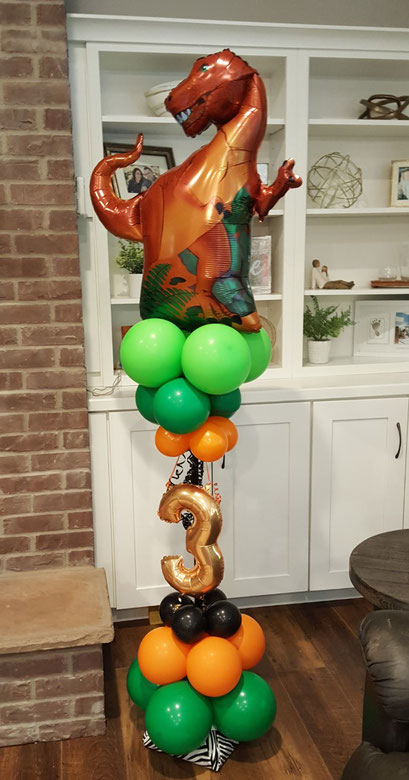 Air-Filled Balloon Sculpture Column Dinosaur Green Orange Black