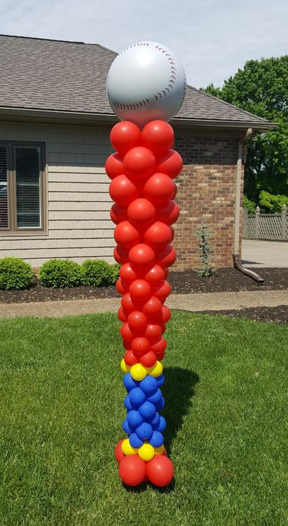 Air-Filled Balloon Column Sculpture Baseball Bat