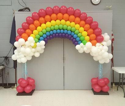 Air-Filled Balloon Arch Rainbow Clouds