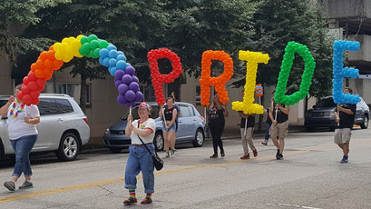 Evansville Indiana Gay Pride Parade 2019 Rainbow Arch Air-Filled