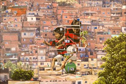 FAVELA BOYS - RIO DE JANEIRO - Acryl auf Leinwandruck - 100 cm x 80 cm