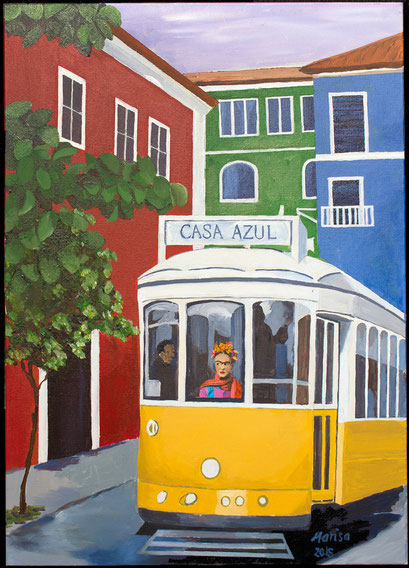 "A STREET CAR CALLED ""FRIDA"" 70 cm x 50 cm"
