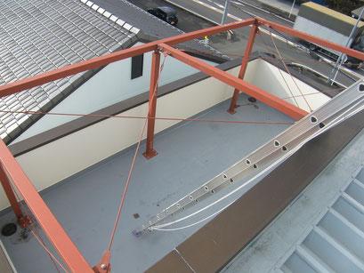 太陽光パネル架台の工事写真