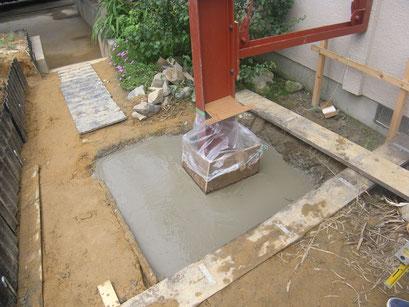 木造建物外部耐震補強の工事写真