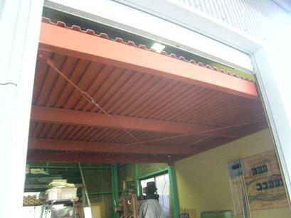 中二階拡張鉄骨工事:工事写真