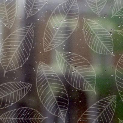 Lasergravur Leaves - auch auf farbigen Glas