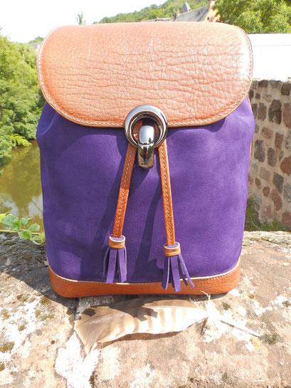 sac porté épaule nubuck violet et vachette grainé cognac