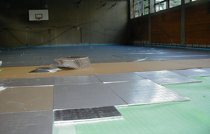 Isolation des sols par exemple Gymnases - Ecoles