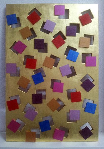 <b> Himmel in Quadraten </b><br> Maße: 72 cm x 47 cm <br> Man muss den Schlüssel finden, der alle Himmelstore, alle Gärten der Verzückung öffnet. Und dieser Schlüssel ist deine Intuition. <br> Krishnarmurti-100Jahre-Evelyn Blau <br> Preis: 780 Euro