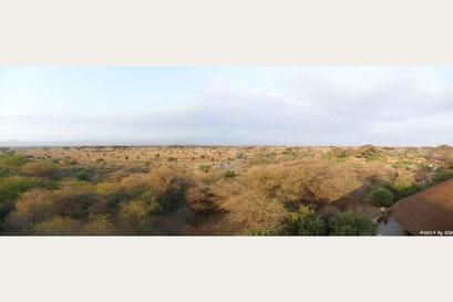 Blick vom Restaurant-Dach des Kilima-Camp
