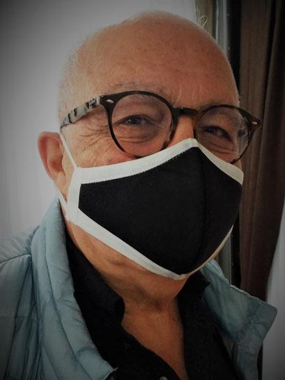 elegante Herren Maske, Mund-Nasenbedeckung_schwarz inkl. Filter