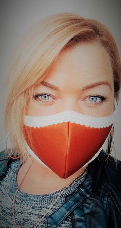 Trendfarbe 2020 - hochwertige Damen Maske, Mund-Naenbedeckung_orange inkl. Filter