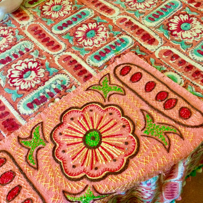 Embroidered patch to cover a torn area in a beloved vintage India Print tablecloth.