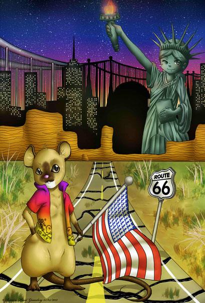 America ~ Weihnachtsbild für einen ehemaligen Ausbilder ~ Postkartenmotiv ~ Painttool Sai