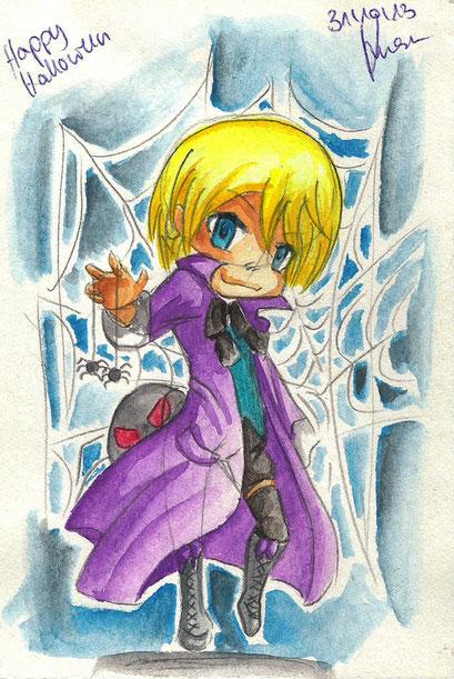 Chibi Alois für Yume-chan auf Facebook ~ Verlosung ~ Aquarell ~ A6