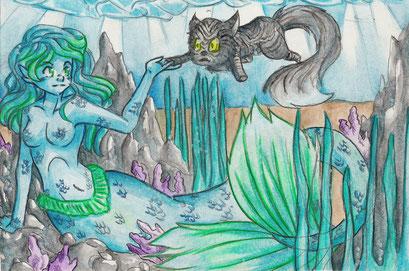 Unter dem Meer ~ Aquarell ~  A5