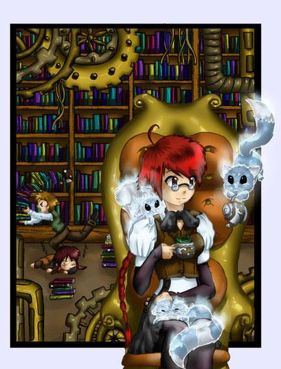 Toriki in der Bibliothek ~ Wettbewerbsbeitrag für Risto auf Animexx ~ Painttool Sai