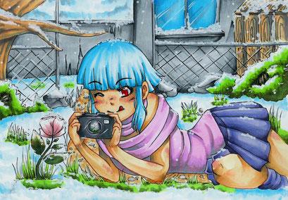 Wichtelbild für Anderswelten auf Animexx ~ Weihnachtswichtelaktion 2014 ~ Copic Marker ~ A5