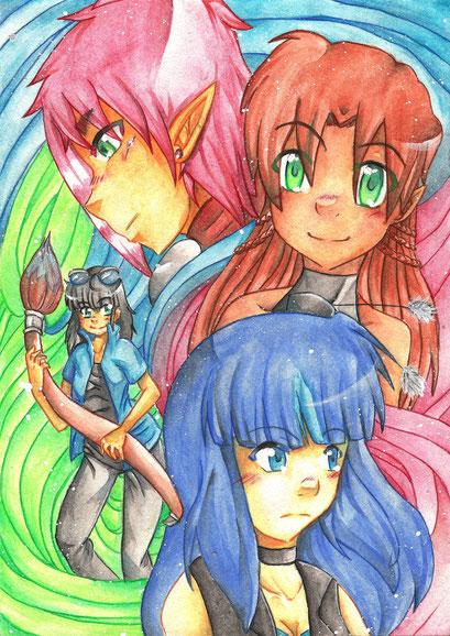 OC Sammelbild ~ Kusú, Alina, Cylan & Kusú (Zeichner) ~ Aquarell ~ A4